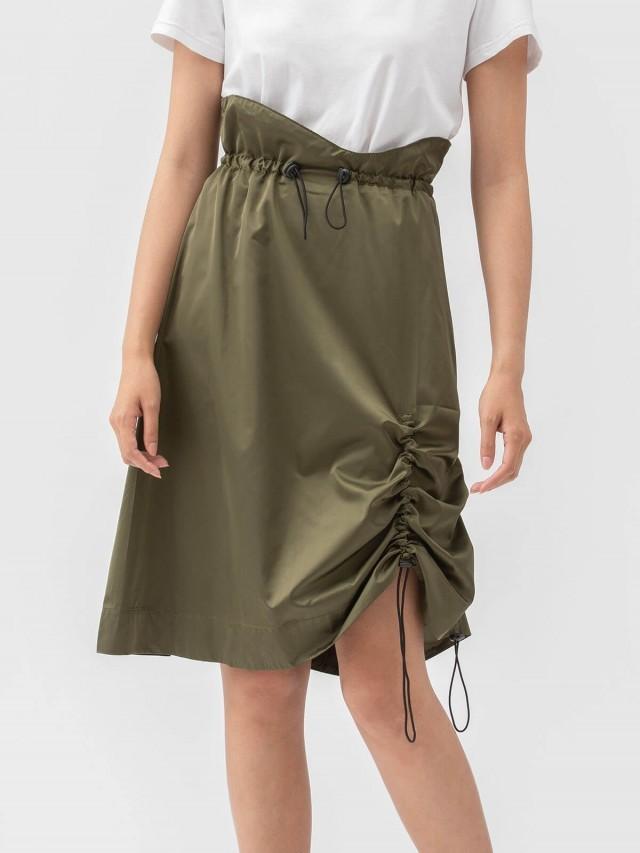 Y-Z STUDIO 防風抽繩不對稱裙 - 綠
