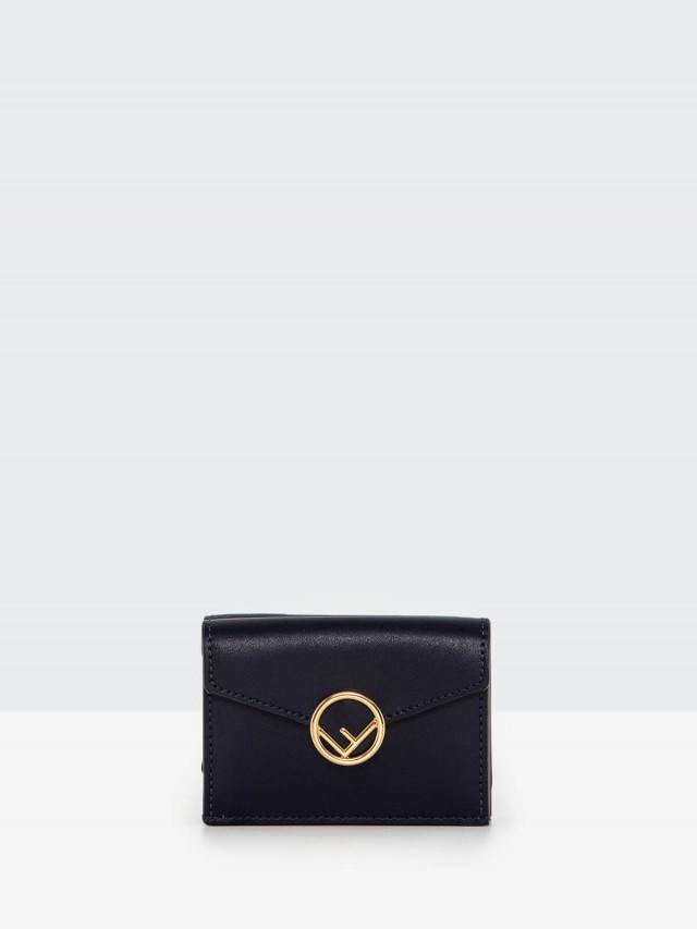 FENDI F is FENDI logo 鏤空金屬牛皮三摺疊小款短夾 x 藍色