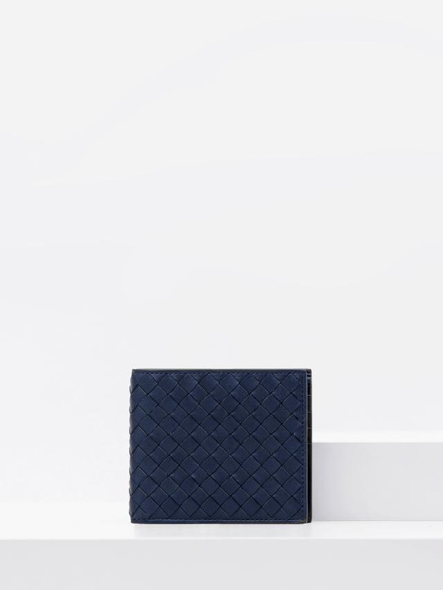 BOTTEGA VENETA 經典小羊皮編織八卡短夾 - 深藍