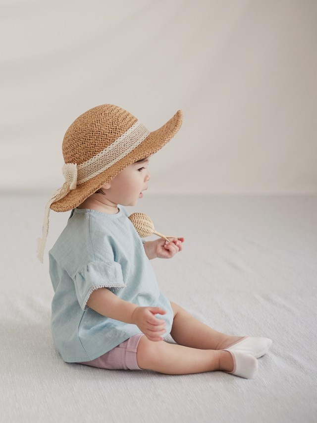 HAPPY PRINCE Happy Prince Torchon 蕾絲緞帶女嬰童遮陽草帽 - 棕色