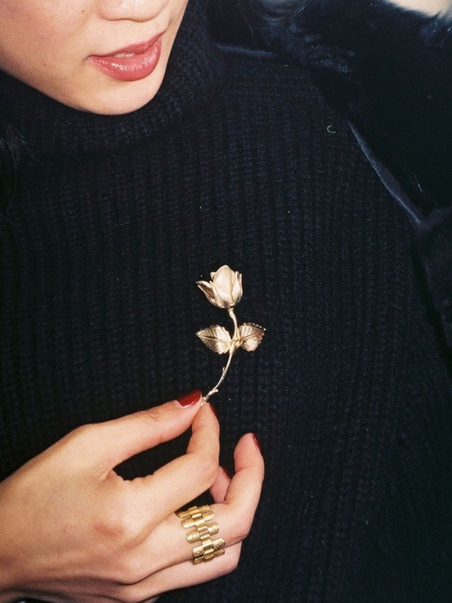 ecllective VINTAGE ROSE BROOCH (GOLD)  古董玫瑰別針 - 金