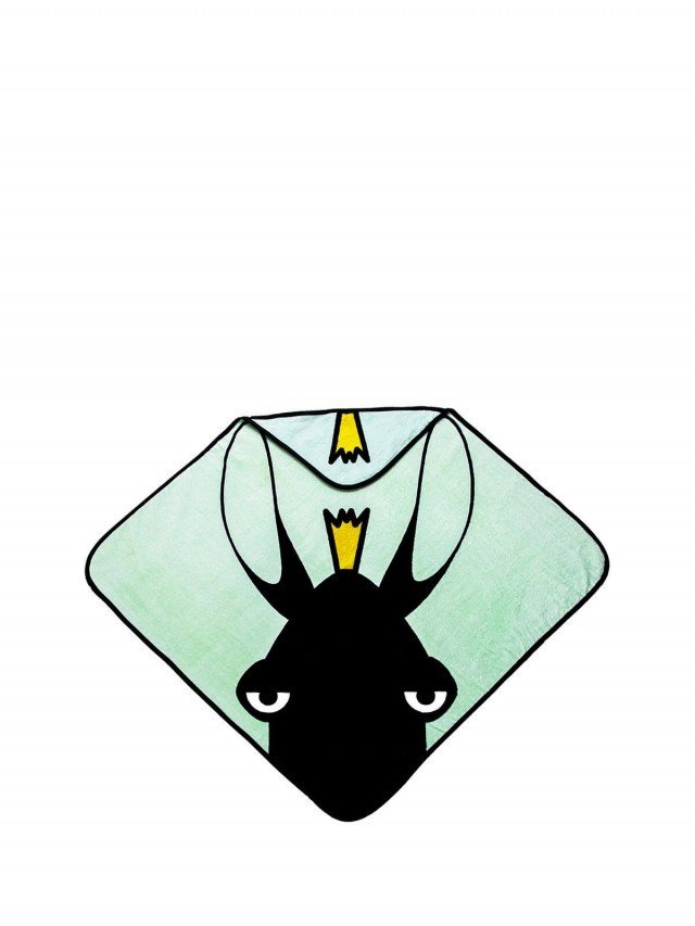 baby Livia 連帽有機棉浴巾 - 麋鹿 x 海綠