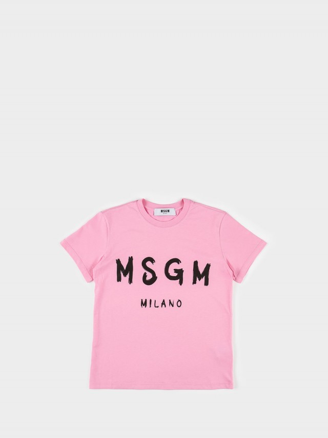 MSGM 油漆塗鴉 LOGO 字母 T 恤 - 粉紅