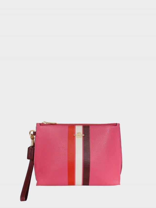 COACH 草莓桃紅拼色條紋全皮寬底大款手拿包
