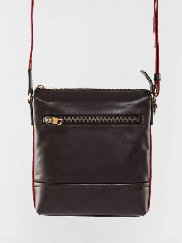 BALLY 經典 TREZZINI 雙色織帶小牛皮直立拉鍊斜背包 - 巧克力色