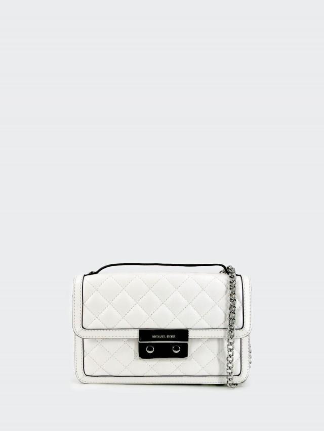 MICHAEL KORS 白色真皮菱格壓紋手提斜背鏈袋包
