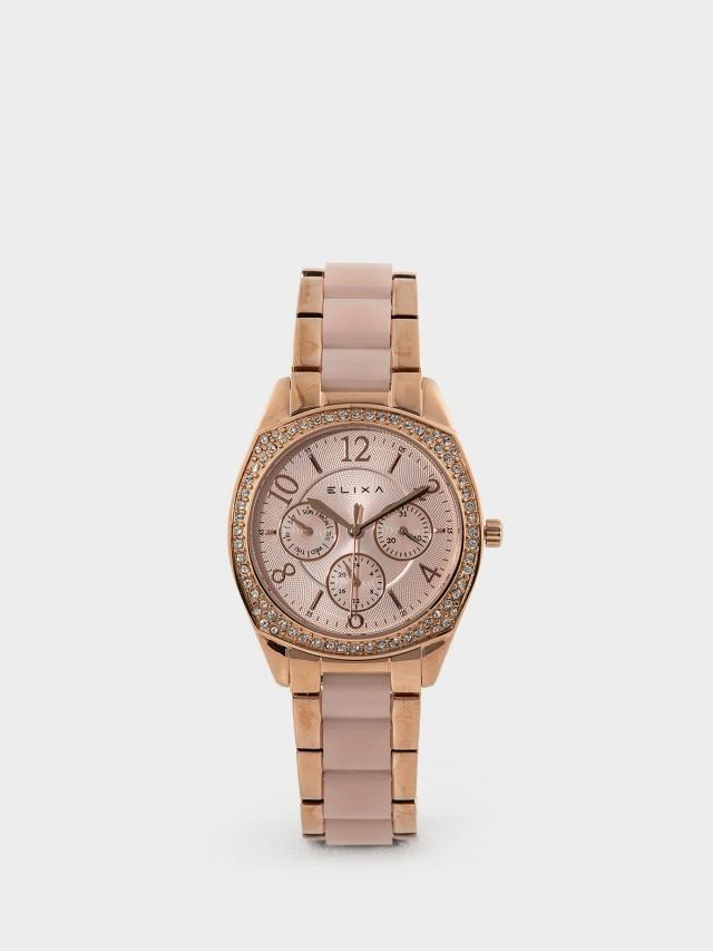 ELIXA Enjoy 晶鑽系列玫瑰金屬錶帶 35 mm