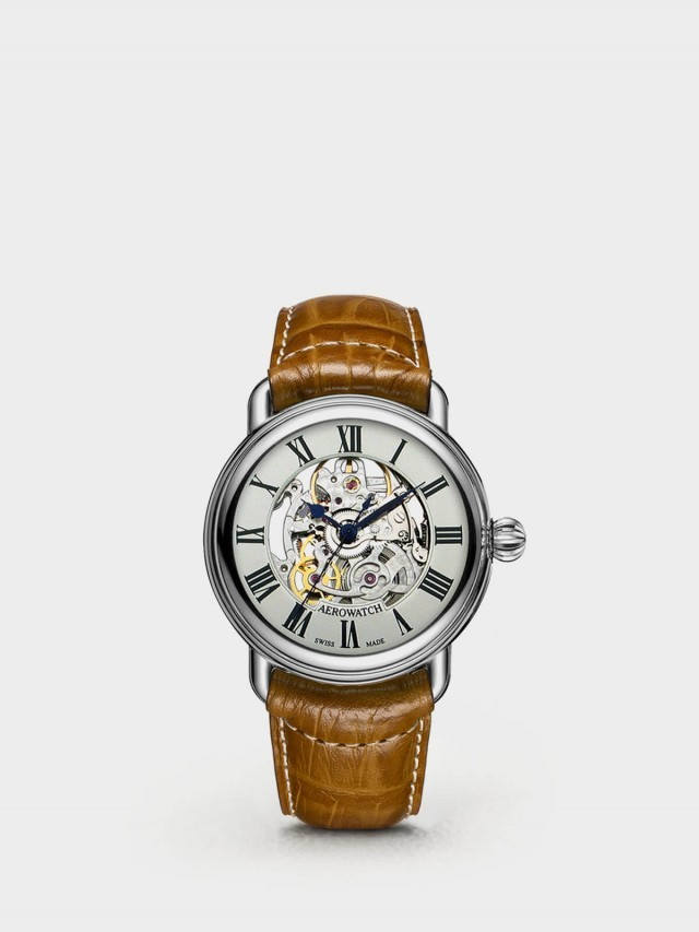 AEROWATCH 半鏤空自動機械錶 - 銀框