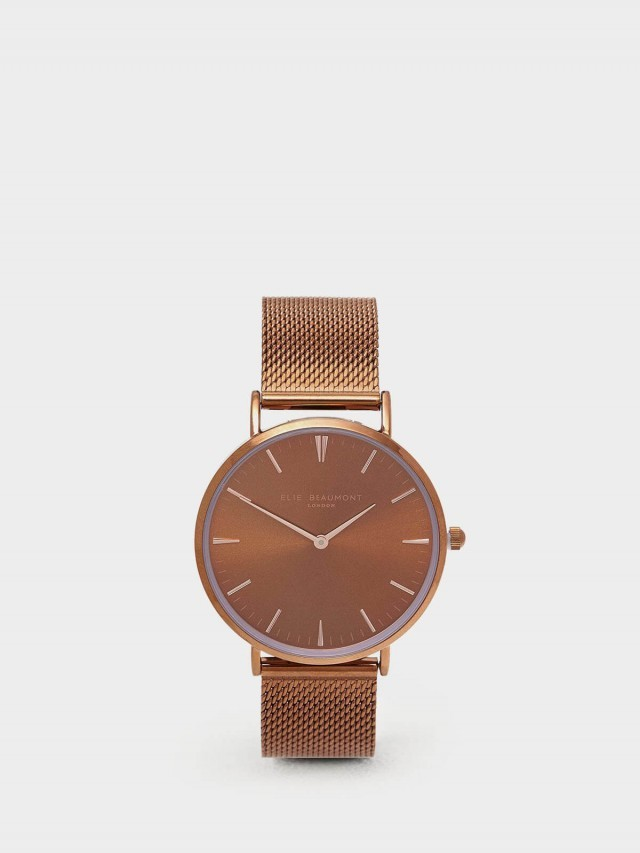 ELIE BEAUMONT 牛津米蘭錶帶系列 金屬咖啡色 38 mm
