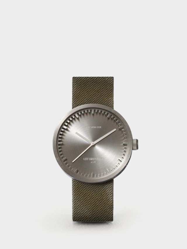 LEFF amsterdam tube 北歐工業齒輪設計尼龍 X 小牛皮腕錶 42mm - 不鏽鋼銀錶盤 /  綠色尼龍錶帶