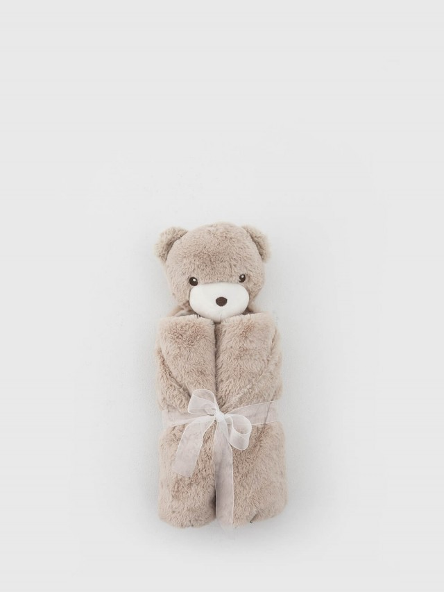 Quiltex 超柔軟動物嬰兒毯安撫毯 - 淺咖啡熊