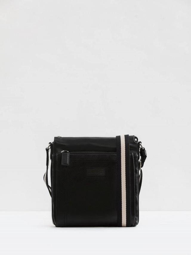 BALLY 經典TUSTON 雙色織帶雙拉鏈牛皮日字斜背包 - 黑