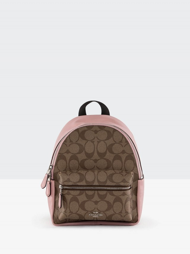 COACH 卡其 C Logo 拼接粉紅真皮前口袋雙肩後背包 - 小