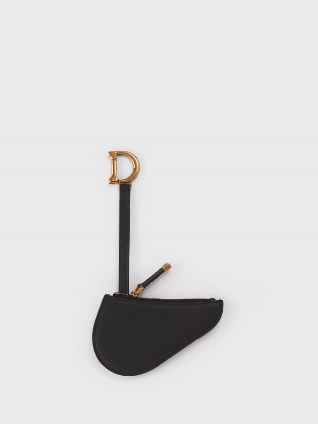 Dior Saddle 壓印粒面感小牛皮拉鍊零錢包 x 黑色