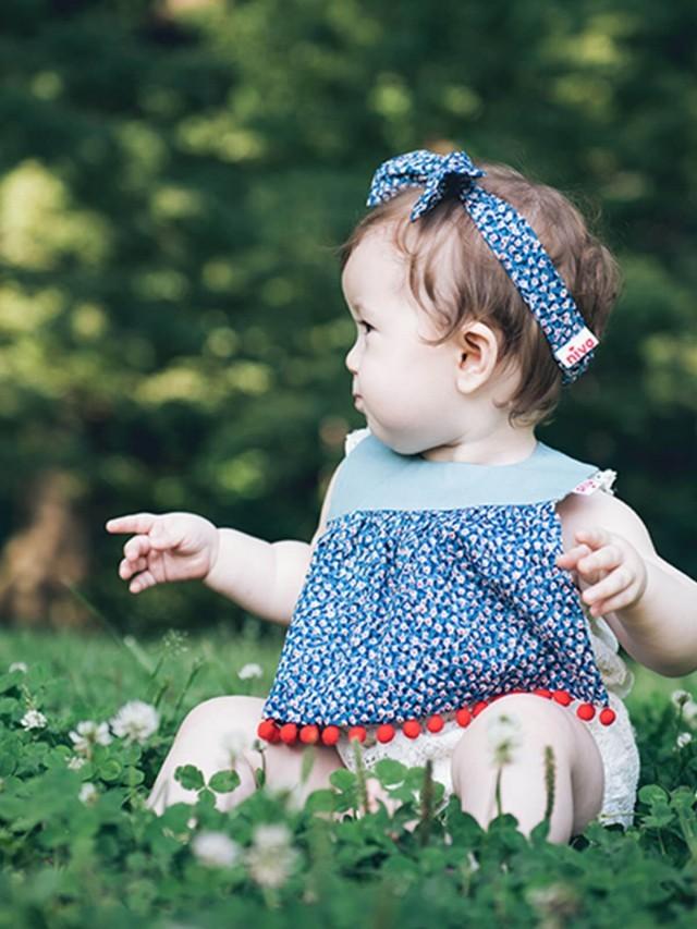Niva 口水巾 -  印花小絨球 x  嬰幼兒超可愛純棉髮帶 - 印花