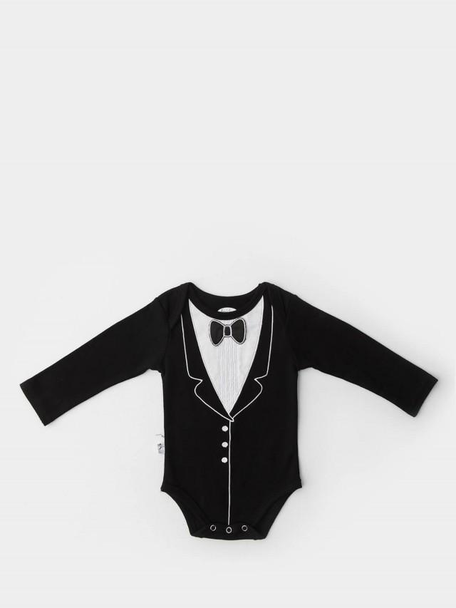 Frenchie mini couture 男嬰連身衣 - 黑領結燕尾服 / 長袖
