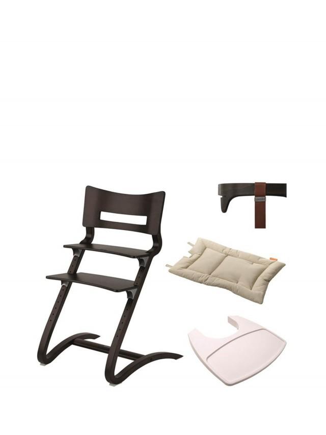 Leander 新款二代成長型餐椅套組 - 組合A ( 胡桃木餐椅 + 二代護欄 + 餐盤 + 坐墊 )