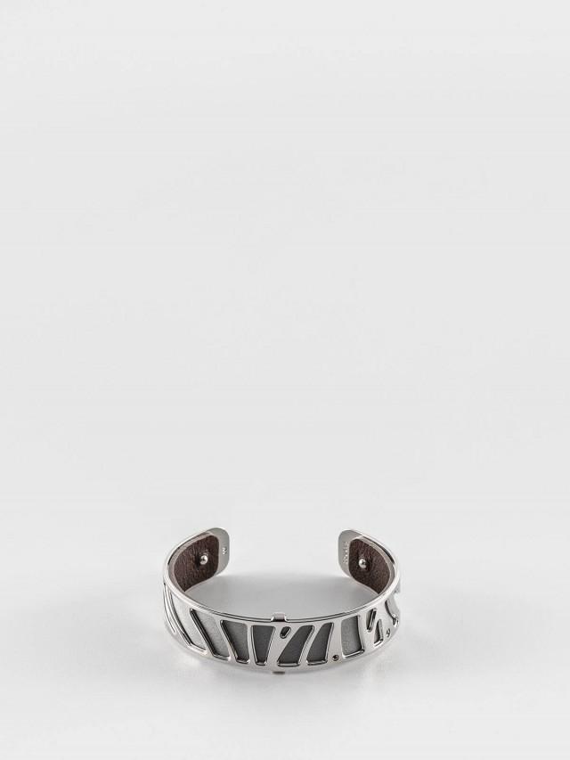 Les Georgettes 銀色細版鸚鵡紋手環 + 細版手環皮革淺灰 / 深咖