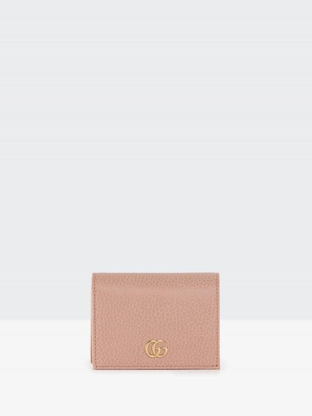 GUCCI GG Marmont 荔枝紋皮革卡片夾 x 淺粉色