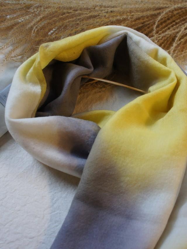 木木研室 植物染羊絨方巾 - 黃紫幾何