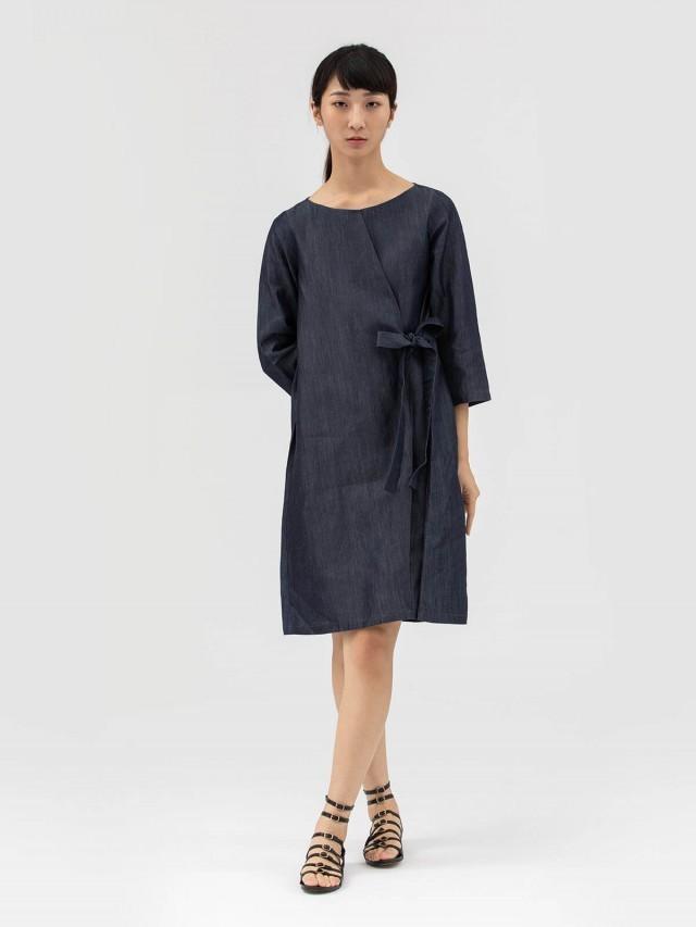 AUSTIN W. 綁帶洋裝 - 灰藍