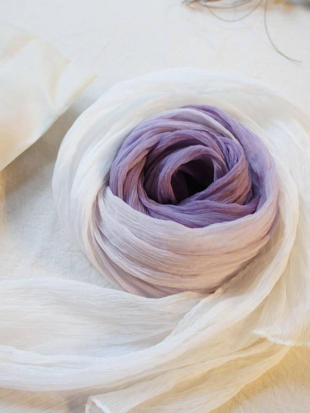 木木研室 植物染蠶絲巾 - 漸層紫