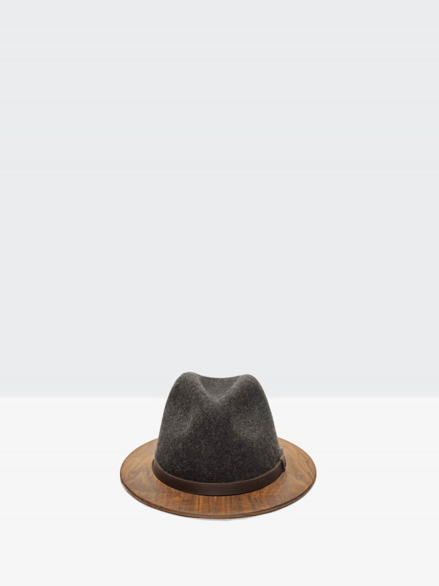 THE TWO GUYS BOW TIE Gray Fedora w / Walnut Brim 手工木製紳士帽 - 鐵灰