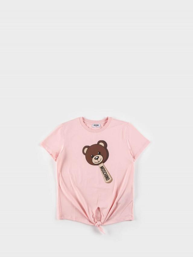 MOSCHINO 童版冰棒熊綁帶短 T x 粉紅