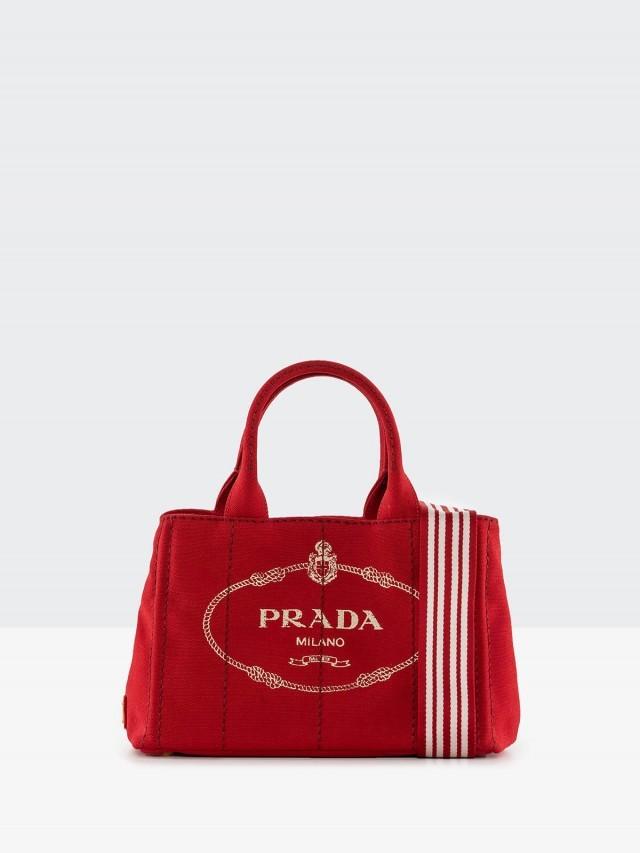 PRADA CANAPA 金色三角 LOGO 帆布縫線造型手提斜背包 - 紅