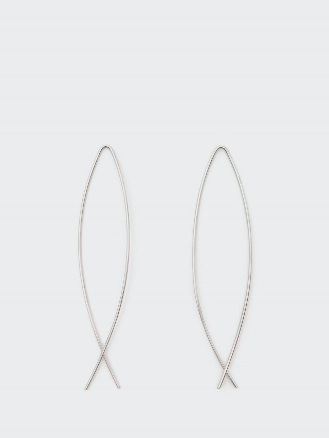 Lélim Jewelry 耳環 SILVER CROSSED EARRINGS
