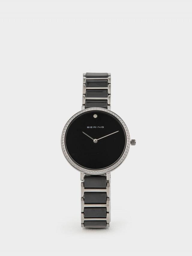 BERING 丹麥手錶閃耀晶鑽簡單錶面陶瓷系列 - 34 mm x 黑白