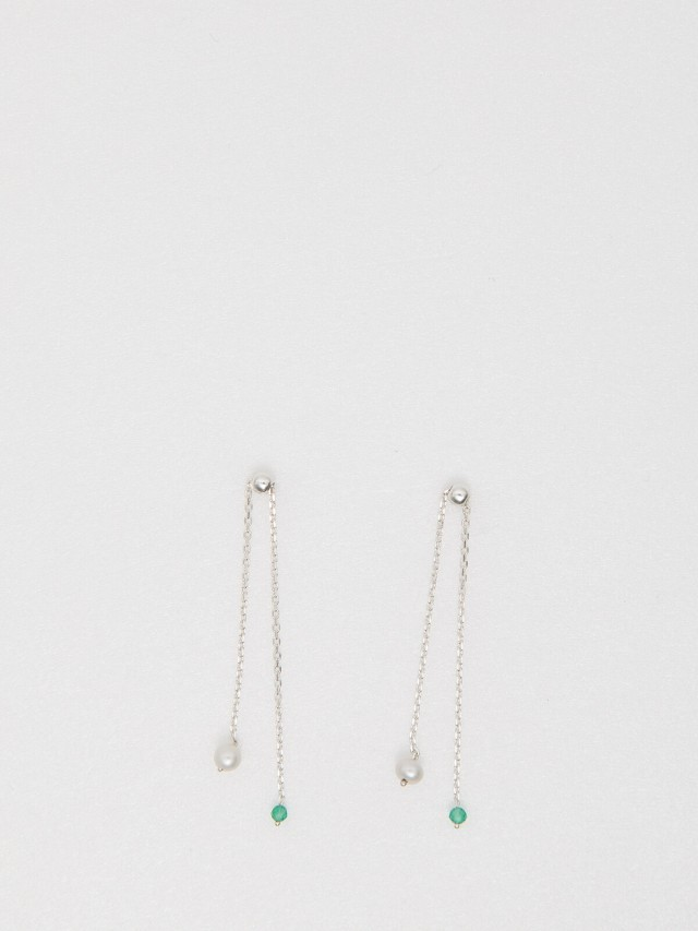 Lélim Jewelry 耳環 SILVER GREEN TONE EARRINGS