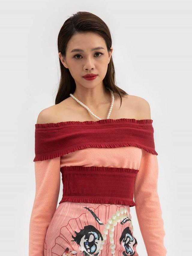 LABRIELLS 桃紅平口上衣