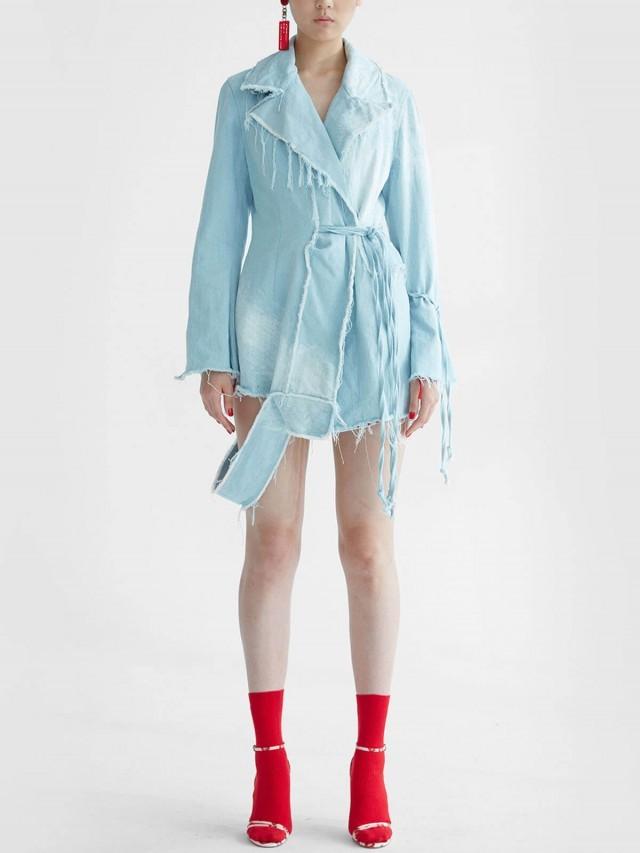 JENN LEE 虛邊淺藍刷色單寧大衣