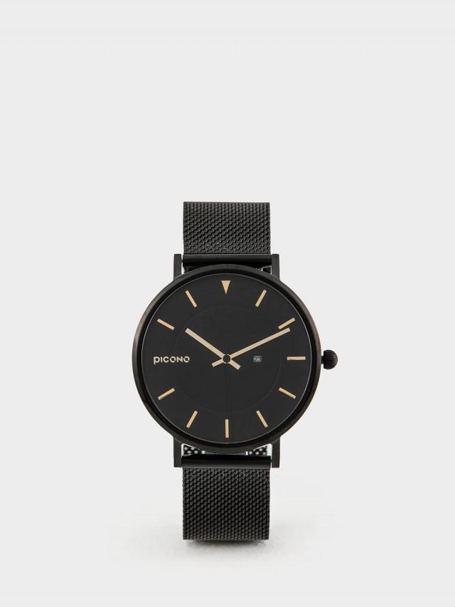 PICONO RGB 系列 - 輕薄黑色快拆式不鏽鋼網帶手錶 - 金屬金