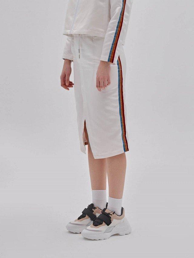 PEHOM 三色絨布條紋半身裙 - 女