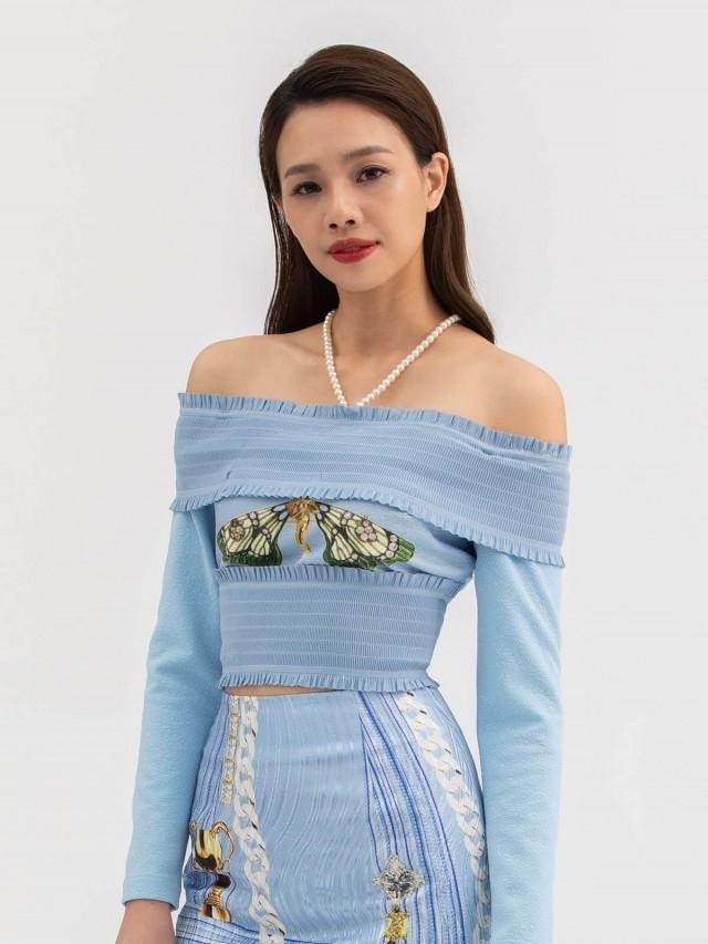 LABRIELLS 藍蜻蜓平口印花上衣