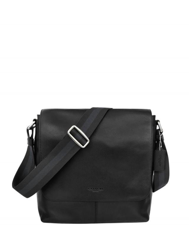 COACH 黑色全皮雙磁釦翻蓋中款斜背男包