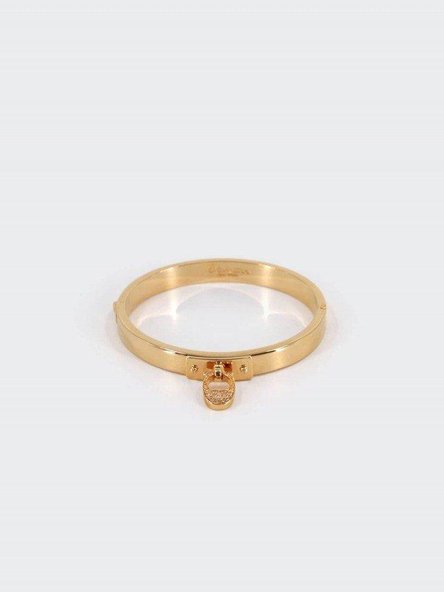 COACH 水鑽 C 字玫瑰金色細版夾式手環
