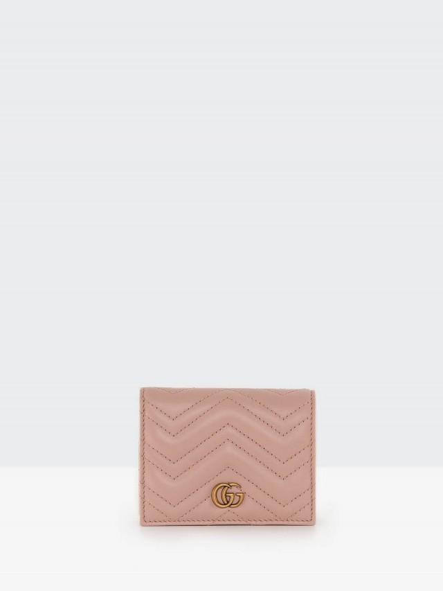 GUCCI Marmont matelasse 絎縫紋牛皮金屬雙 G LOGO 暗釦卡夾 / 零錢包 - 粉