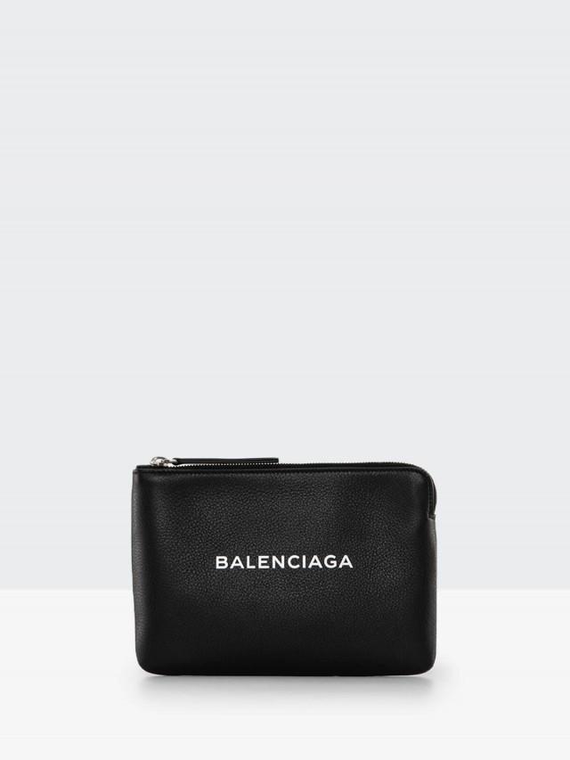 BALENCIAGA EVERYDAY 系列 LOGO 壓紋小牛皮 L 型拉鍊手拿包 - 黑
