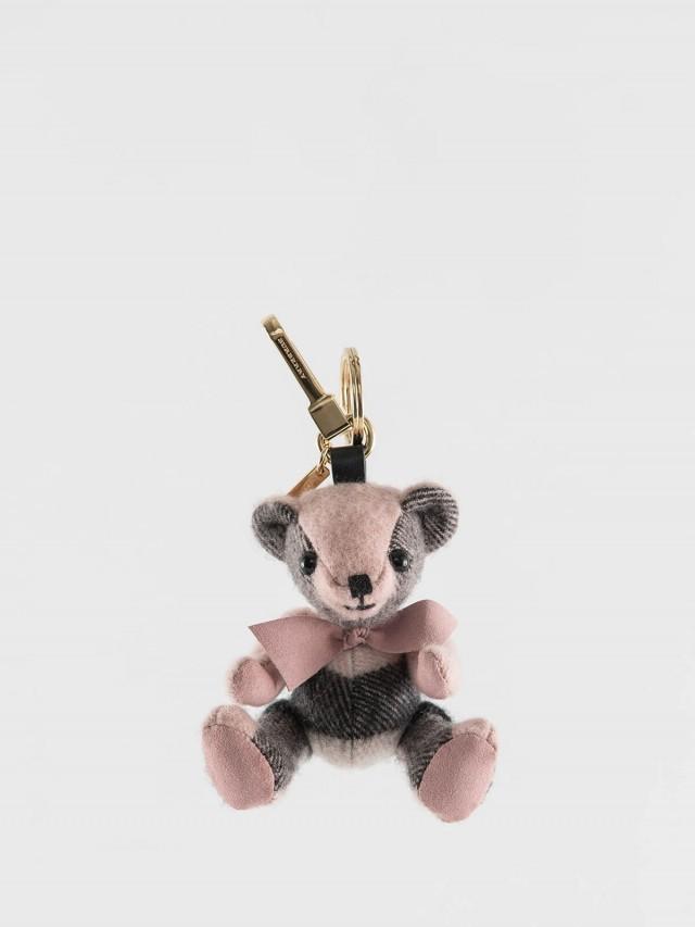 BURBERRY 格紋喀什米爾 Thomas 泰迪熊墜飾 - 煙燻玫瑰色