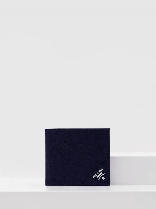 PRADA 經典浮雕 LOGO 防刮牛皮折疊短夾- 深藍