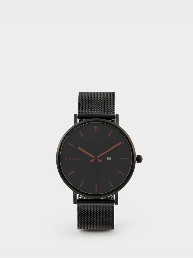 PICONO RGB 系列 - 輕薄黑色快拆式不鏽鋼網帶手錶 - 暗酒紅