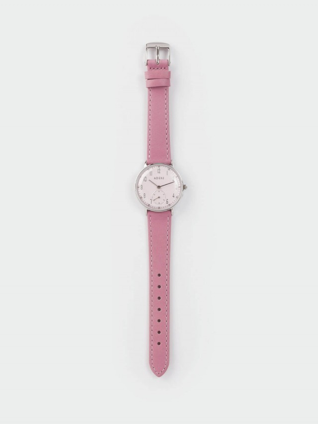 ADEXE Freerunner 單眼系列 粉色錶盤 x 銀錶框 x 皮革錶帶 32.5 mm