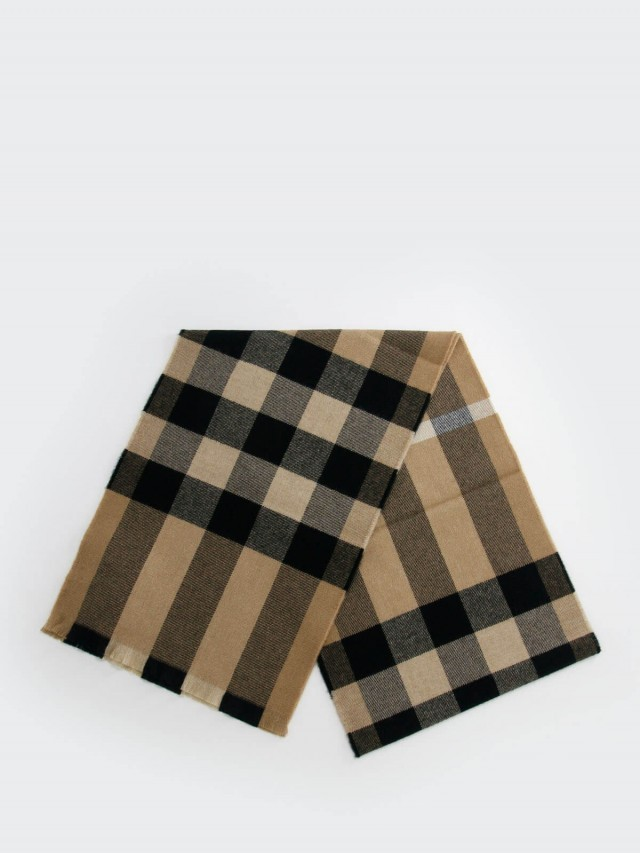 BURBERRY 經典格紋羊毛圍巾 x 駝色