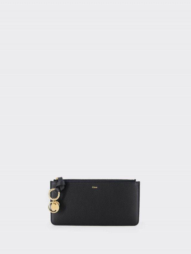 Chloé Alphabet Wallet 金屬綴飾前粒面牛皮拉鍊零錢卡片夾 x 黑色