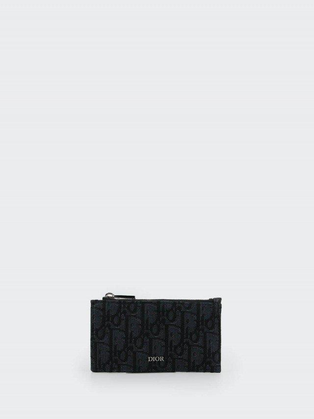 Dior 黑色 Dior Oblique Galaxy 皮革拉鍊卡片夾