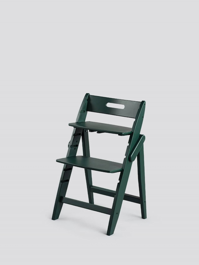 moji 全成長型原木高腳椅 - 森林綠