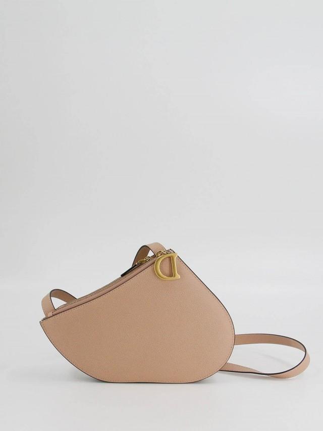 Dior 小牛皮 mini 馬鞍形拉鍊手拿 / 斜背包 x 祼粉